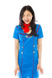 Asian air stewardess screaming in excitement stock images