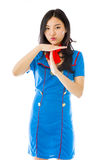 Asian air stewardess showing timeout signal Stock Photo