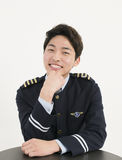 Asian airline pilot Stock Photos