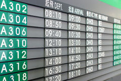 Asian Airlines Timetable. To Taiwan Stock Image