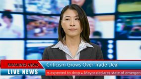 Asian American anchorwoman with lower thirds. TV news broadcast concept stock photography