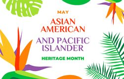 Free Asian American And Pacific Islander Heritage Month. Vector Banner For Social Media, Card, Poster. Illustration With Text, Tropical Royalty Free Stock Photo - 180235145