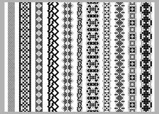 Asian or american  border decoration elements patterns in black and white colors Stock Images