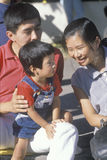 An Asian-American family, Little Tokyo, Los Angeles, CA Royalty Free Stock Photography