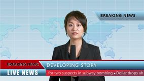 Female news anchor in studio. Asian American female news anchor in studio with map background and lower thirds, TV news concept stock video footage