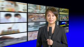 Female news anchor in studio Stock Images