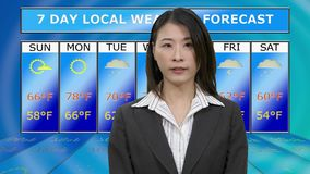 Asian American female weather reporter reporting from studio