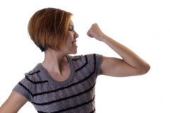 Asian American Woman Profile Showing Bicep Muscle Royalty Free Stock Image