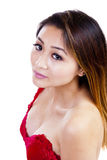 Asian American Woman Red Top Showing Cleavage Royalty Free Stock Images