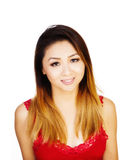 Asian American Woman Red Top Uncertain Expression Stock Image