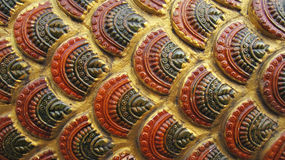 Asian ancient golden giant snake scale pattern Royalty Free Stock Photography