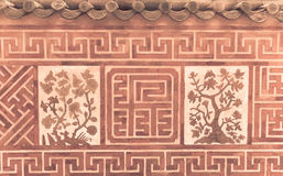 Asian ancient terracotta brick wall royalty free stock photography