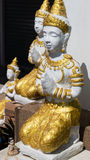 Asian angel sculpture wearing golden jewelry Stock Images