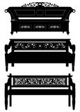 Asian Antique Chair Bench Furniture in Silhouette stock illustration