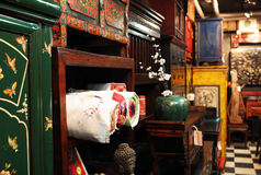 Asian antique furniture store Stock Photo