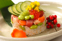 Asian Appetizer Of Rice With Tuna, And Salmon Royalty Free Stock Photography