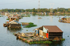 Asian aquaculture, La Nga river, floating house Royalty Free Stock Photo