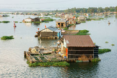 Asian aquaculture, La Nga river, floating house Royalty Free Stock Images