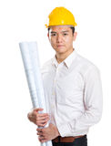 Asian architect with blue print Royalty Free Stock Images
