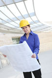 Asian Architect on Construction Site Stock Photo