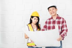Asian architect at construction site office stock photos