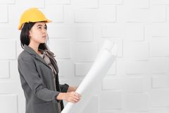 Asian architect at construction site office stock photo
