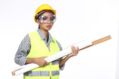 Asian Architect Engineer woman in yellow hard hat,  safety vast Royalty Free Stock Photos