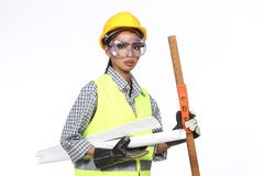 Asian Architect Engineer woman in yellow hard hat,  safety vast Stock Image
