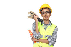 Asian Architect Engineer woman in yellow hard hat, safety vast. Equipment, thick gloves, protector glasses goggle and water level, studio lighting white stock images