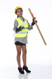 Asian Architect Engineer woman in yellow hard hat,  safety vast Stock Photos