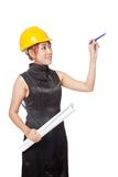 Asian architect girl hold blueprint and point a pen up Stock Photos