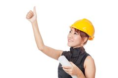Asian architect girl looking up and  show thumbs up Stock Images