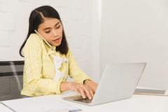 Asian architect lady at office stock images