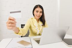 Asian architect lady at office royalty free stock image