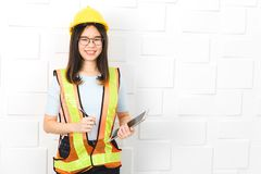 Asian architect lady at office stock photos
