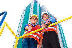 Asian architect and supervisor on construction site Royalty Free Stock Images