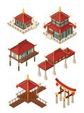 Asian architecture isometric. Traditional chinese and japan houses buildings roof vector 3d illustrations stock illustration
