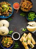 Asian assorted food set stock photo