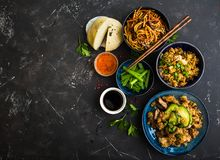 Asian assorted food set Royalty Free Stock Images