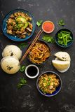 Asian assorted food set stock images