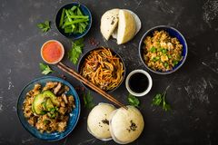 Asian assorted food set stock photography