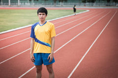 Asian athlete on the track Stock Photo