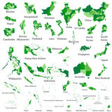 Asian, Australia and Oceania vector countries maps Royalty Free Stock Images