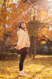 Asian autumn happy young girl Stock Photo