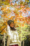 Asian autumn happy young girl 2 Stock Photos