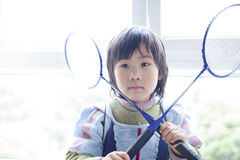Asian babay son playing badminton Stock Image