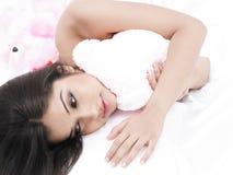 Asian babe with her teddy bear Stock Photos