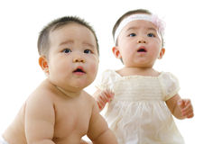 Asian babies. Asian baby boy and baby isolated on white royalty free stock images