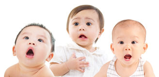 Shocking babies. Asian babies in shocked expression Stock Photo