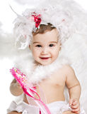 Asian baby boy in a angel fancy dress. On a white background Royalty Free Stock Photo